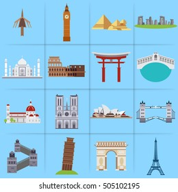 City icons in flat style Taj Mahal & India Gate, Big Ben clock, Payrameds, Standing Stones, coliseum, Itsukushima Shrine, rialto bridge italy, Sydney Opera House, Tower Bridge, China Wall, Pissa Tower