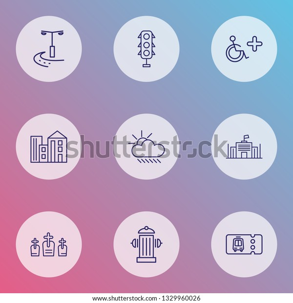 City icons line style set with disabled sign, transport ticket, city lights and other rip elements. Isolated vector illustration city icons.