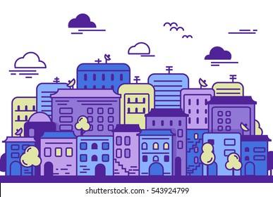 city illustration. Cityscape. Urban landscape. Buildings, trees,clouds, skyscrapers, road. Flat vector graphic design