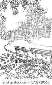 City illustration. Hand drawn ink line sketch European old town London, historical architecture with benches, people, trees . Ink drawing of cityscape, perspective park view. Travel postcard.