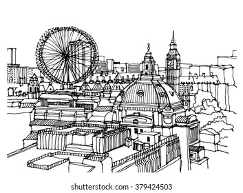 City illustration. Hand drawn ink line sketch European old town London, historical architecture with building, roof. Ink drawing of cityscape, perspective view. Travel postcard. Birds eye view
