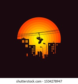 City illustration. Shoes on wire in the street. Urban style background. T shirt design, label, logo, print, art.