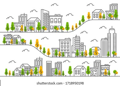 City illustration with a thin line style.City landscape. Urban life Vector illustration