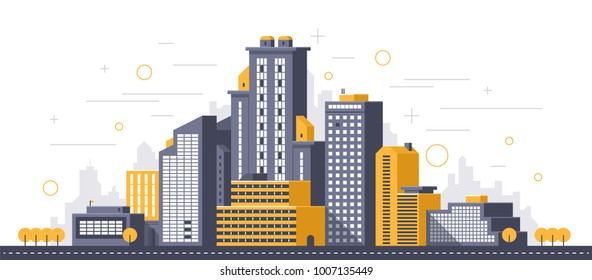 City illustration. Towers and buildings in modern flat style on white background
