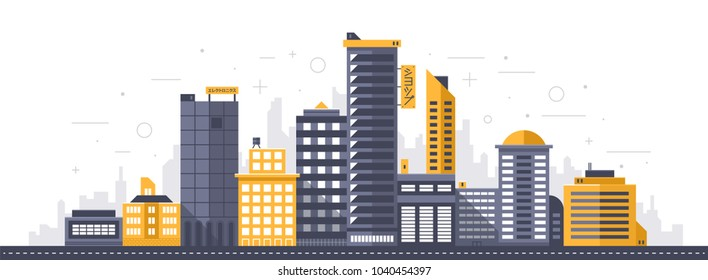 "City illustration. Towers and buildings in modern flat style on white background. Japanese signs ""Shop"" and ""Electronics."