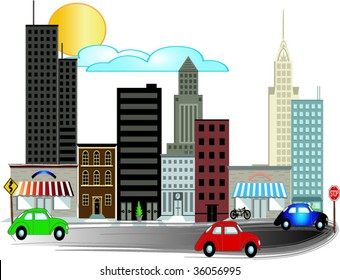 City Illustrations with busy road vector