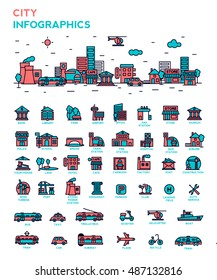City Infographic set. Vector illustration.