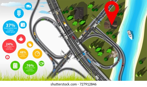 City infographics with city map and road