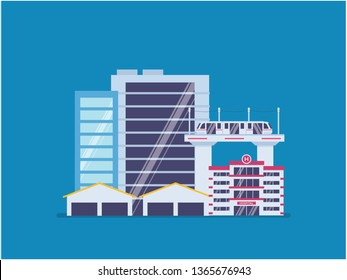 City infrastructure development. City scape, tower, and mass transportation development. Infrastructure of a city with tiny people illustration. Suitable for header, hero image, website, poster.