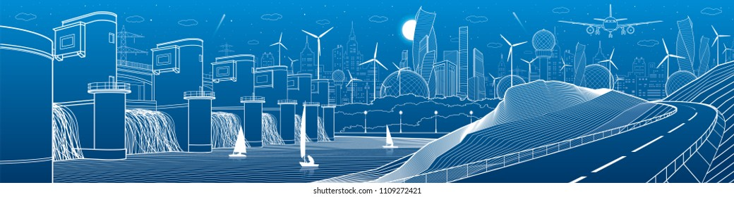 City infrastructure industrial and energy illustration panorama. Hydro power plant. River Dam. Automobile road in mountains. White lines on blue background. Vector design art