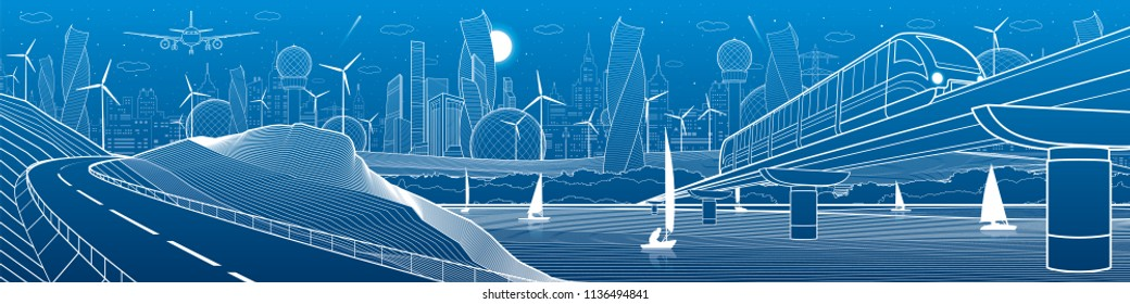 City infrastructure industrial and transport illustration panorama. Train travels along  railway bridge over river. Automobile road in mountains. White lines on blue background. Vector design art
