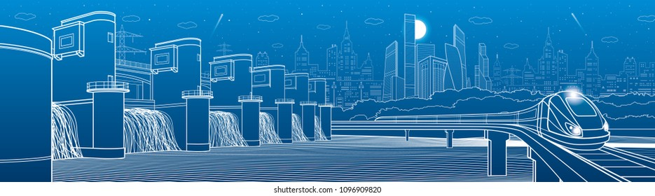 City infrastructure industrial and transportation illustration panorama. Hydro power plant. River Dam. Energy station. Train move on bridge. White lines on blue background. Vector design art