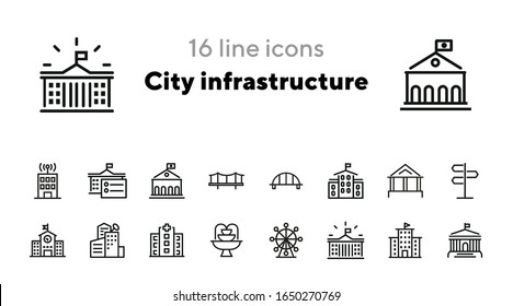 City infrastructure line icon set. Hospital, government, bridge, fountain. Buildings concept. Can be used for topics like urban life, town, architecture