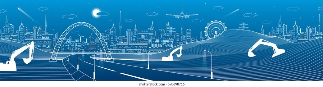 City infrastructure panorama, industrial landscape, building cranes and excavators, road under the bridge, urban scene, neon lights town, vector design art