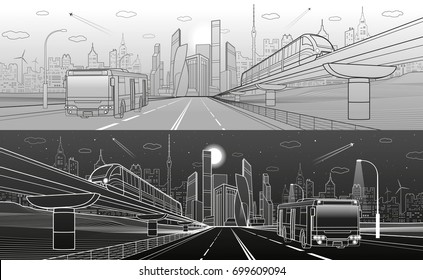 City infrastructure transport panorama. Monorail railway. Train move over flyover. Modern night city. Airplane fly. Towers and skyscrapers. Bus move. White and black lines, vector design art