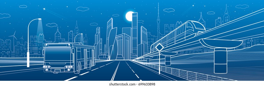 City infrastructure transport panorama. Monorail railway. Train move over flyover. Modern night city. Airplane fly. Towers and skyscrapers. Bus move. White lines on blue background, vector design art
