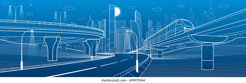 City infrastructure transport scene. Monorail railway. Automotive flyover. Train move over overpass. Modern city. Plane fly. Towers and skyscrapers. White lines on blue background, vector design art
