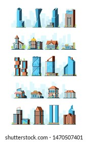 City infrastructure. Urban construction houses skyscraper gas station school store bank municipal buildings vector 2d pictures. Set of building house, office and store, bank skyscraper illustration