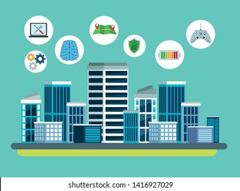 city internet connectivity with technology icons with computer, battery, maps and shield protection in cityscape with skyscrappe cartoon vector illustration graphic design