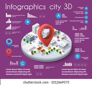 City isometric colorful 3D infographics there are diagram, building, road, park, transportation and trees in the area of the town with the business conceptual graphs and symbols