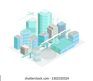 City Isometric landscape. Modern architecture, buildings. Train crossing the light rail subway railway. 3d style vector illustration.