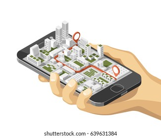 City isometric plan with road and buildings on smart phone. Phone in hand. Map on mobile application. 3d vector illustration.