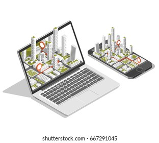 City isometric plan with road and buildings on smart phone and laptop. Map on mobile application. 3d vector illustration.