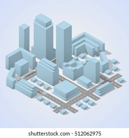 City isometric plan with road and urban silhouette of building. City abstract buildings and roads. Vector illustration