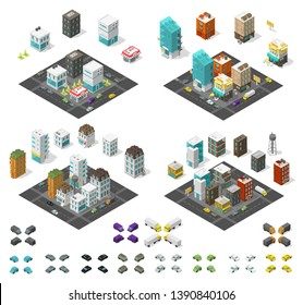 City isometric set. Cityscape infrastructure quarter. Town houses and streets with cars. Urban low poly. Vector illustration.