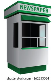 City kiosk selling newspapers and magazines. Vector illustration.