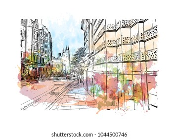 City Landmark of Edinburgh Capital of Scotland, UK. Watercolor splash with hand drawn sketch  illustration in vector.