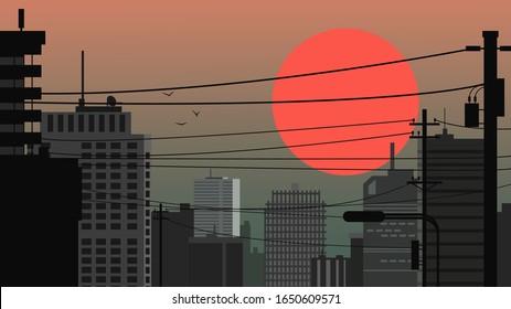 City landscape against the backdrop of a huge red sun. City at sunset / sunrise. Vector illustration.
