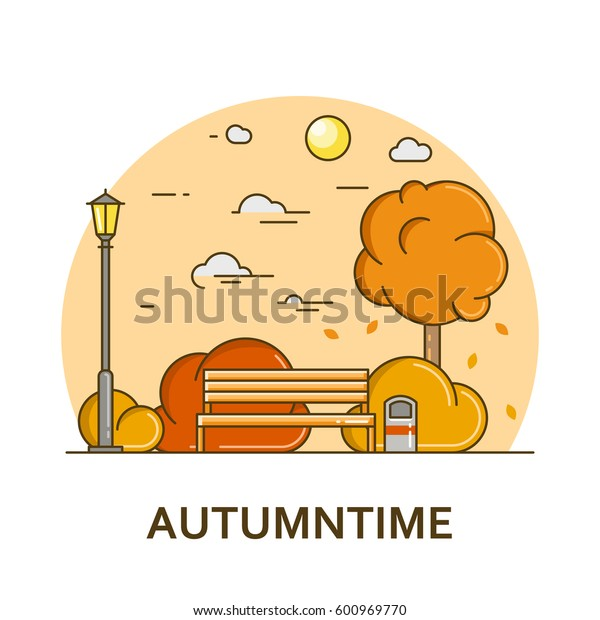 City landscape with bench and street lamp in public park. Vector illustration in flat line style. Season architecture design for banner or card. Autumn nature background. Outdoor activity concept