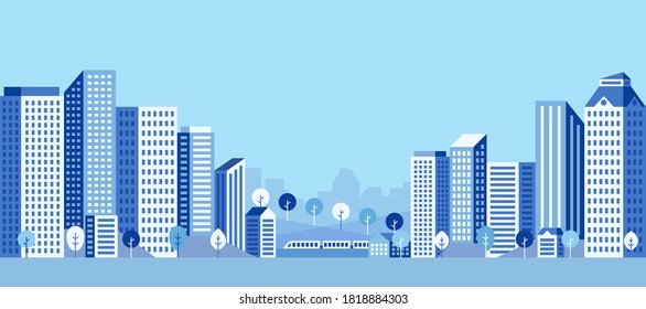 City landscape with buildings in blue. Heights, trees, workers' homes and office buildings. Abstract horizontal banner. Vector illustration.