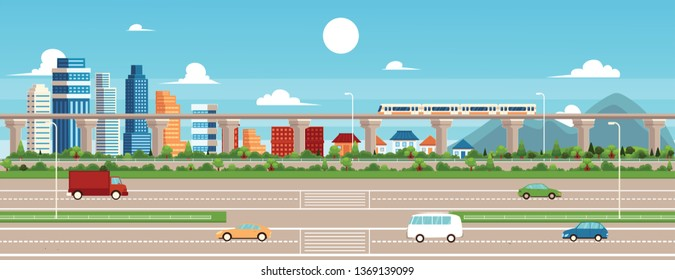 City landscape with buildings and hyperloop bridge vector illustration background or scene. Modern urban skyline view of cityscape architecture and road banner.