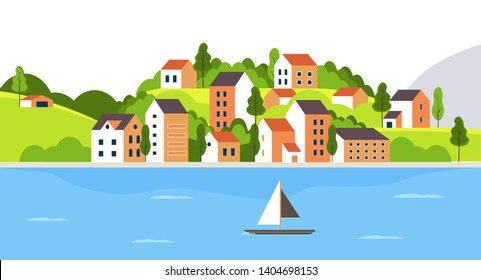 City landscape with buildings, lakeand trees. Background for header images for websites, banners, covers and etc.
