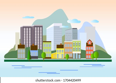 City landscape with buildings, mountains, sea and trees - vector illustration in simple minimal geometric flat style. Abstract background for header images for websites, banners, covers.
