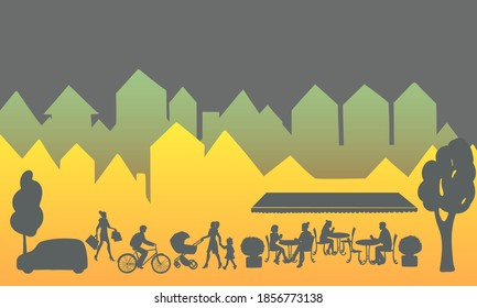 City landscape with buildings, people silhouettes and restaurant or outdoor cafe with silhouettes of people sitting at tables on the night street. Vector illustration.