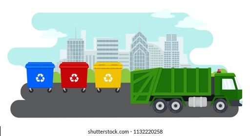 City landscape and containers with waste for recycling and sorting garbage. Waste management. Garbage truck and trash bins.Vector isolated illustration with colorful trash bins and green garbage truck