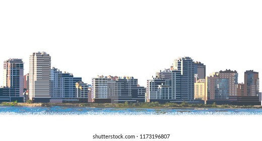 City landscape at dawn. Vector illustration