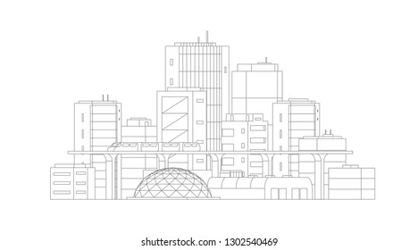 City landscape drawing. Modern architecture, buildings. Train crossing the light rail subway. Gray lines outline contour style.