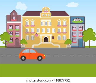 City landscape in flat design style. Vector illustration. On the picture buildings, the road, the car are presented