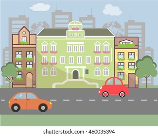 City landscape in flat design style. Vector illustration. There are buildings, road, cars on the picture