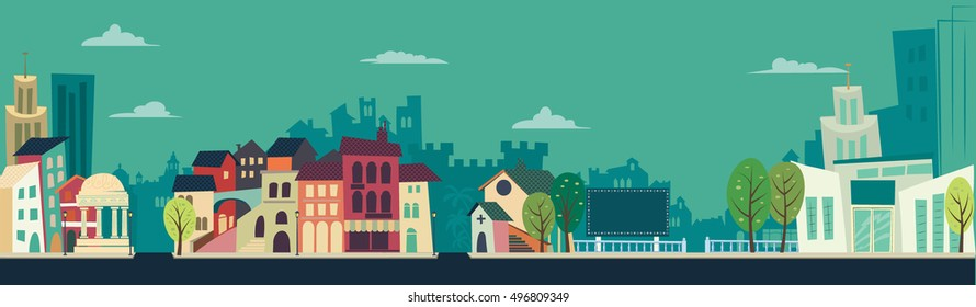 City Landscape - flat illustration