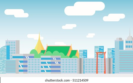 City landscape with high skyscrapers.poster template Flat style vector illustration.Thailand