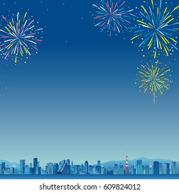 City landscape with high skyscrapers.poster template Flat style vector illustration.Tokyo,Fireworks night sky landscape background, vector illustration
