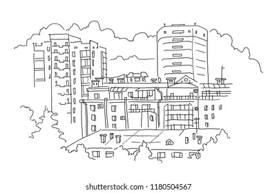 City landscape, high-rise buildings real estate sketch. Apartment house. Hand drawn black line.