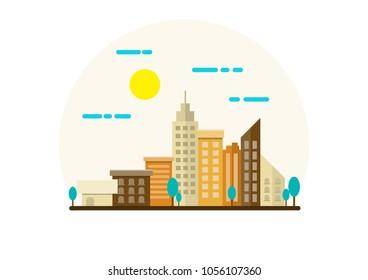 City Landscape Illustration. Flat Design.