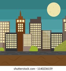City landscape. Megapolis. Flat style. Night city.Eps10.