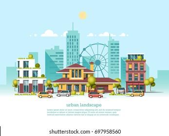 City landscape. Modern architecture 3d style. Modern architecture, ferris wheel, cars, skyscrapers.